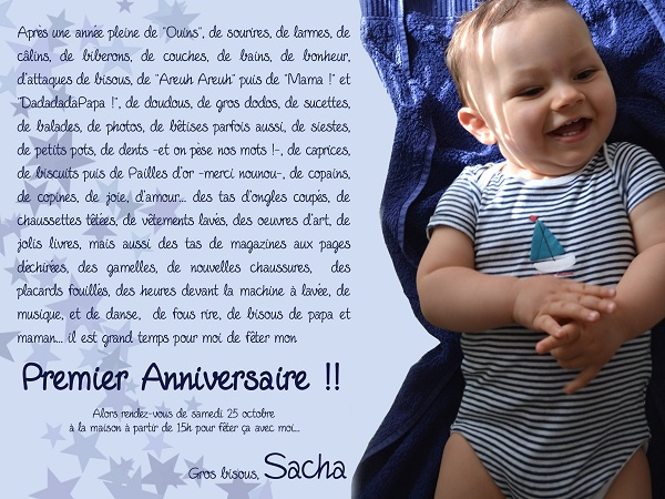 l anniversaire de sacha l 39 invitation at. Black Bedroom Furniture Sets. Home Design Ideas