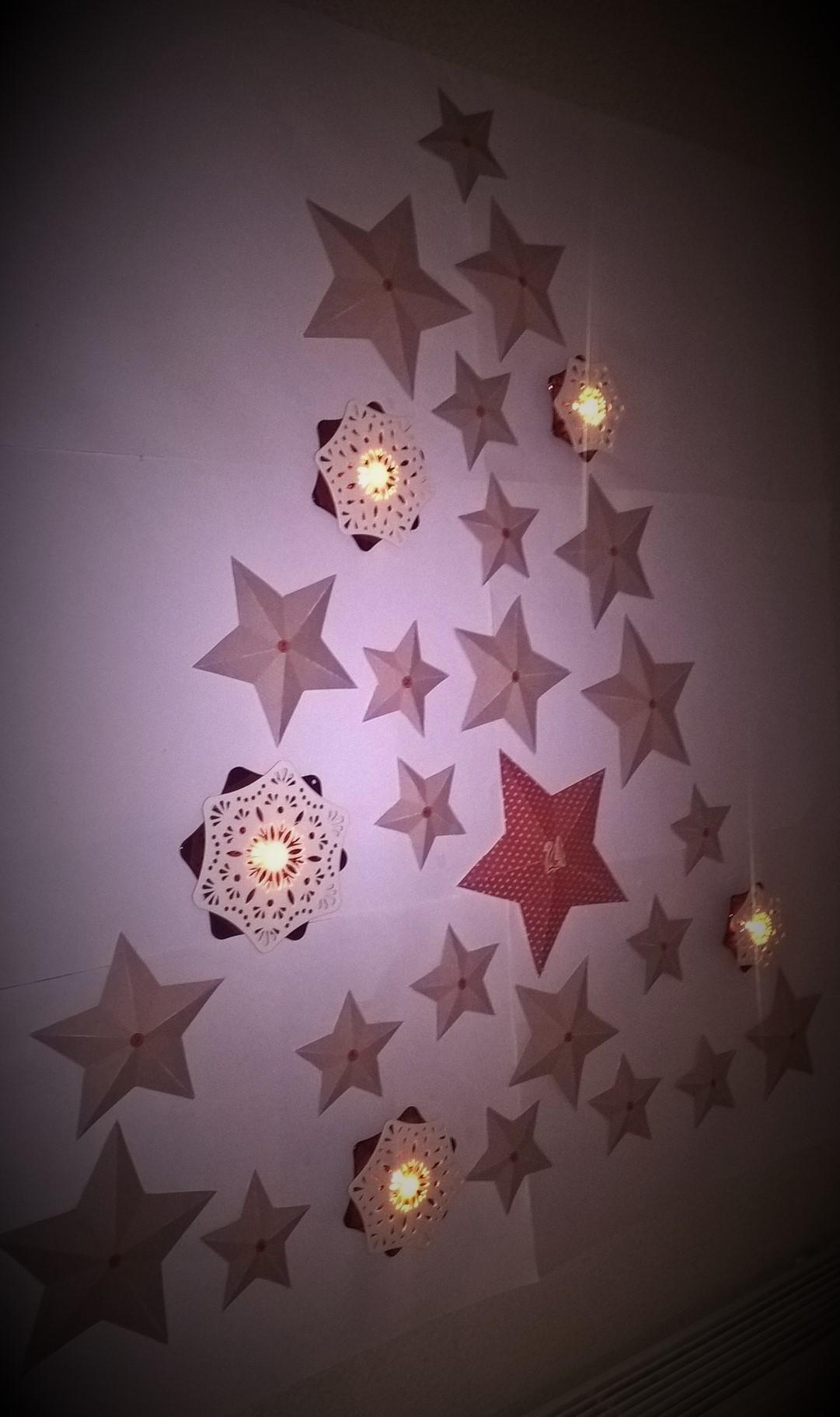 Calendrier de l'Avent étoiles en papier en volume détail 3
